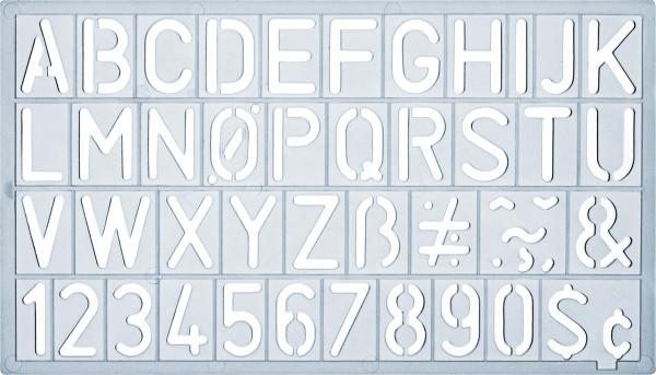 Ars Nova Schrift-/Zahlenschablone, Standard inkl. Sonderzeichen