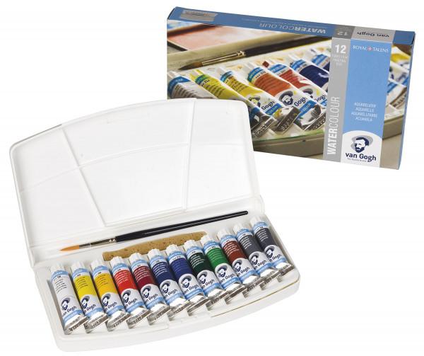 Royal Talens – Van Gogh Aquarellkasten mit 12x 10 ml, Allgemeine Farbauswahl
