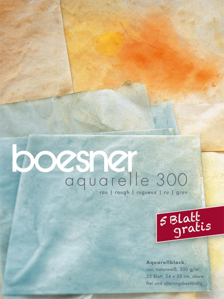 MONAT_2021-03_Mrz: boesner Aquarelle 300 Block   24 x 32 cm + 5 Blatt gratis