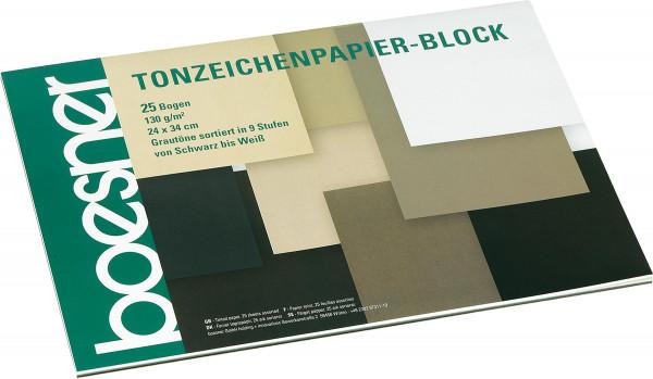 Block mit 25 Blatt, Grautöne | boesner Tonzeichenpapier