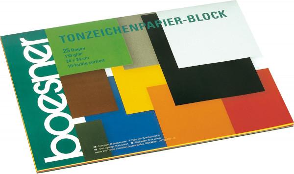 boesner Tonzeichenpapier-Block, 10-farbig sortiert