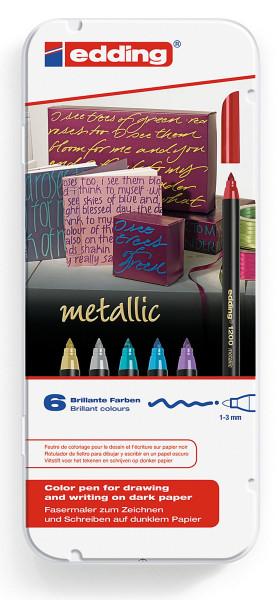 Set: 6 Stifte | Edding 1200 Metallic Fasermaler